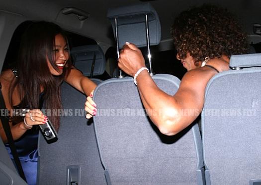 Serena Williams and Noppawan Lertcheewakarn in car